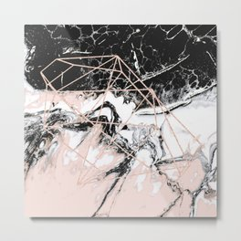 peach marble with rose gold geometric pattern Metal Print