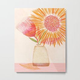 Summer Bouquet / Painted Sunflowers in Gold and Pink Metal Print