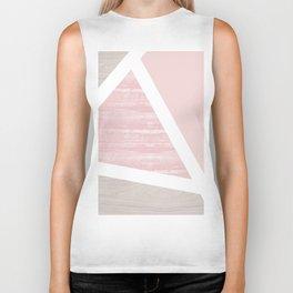 Geometric pink wood Art print Biker Tank