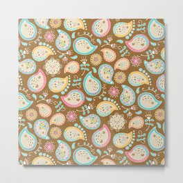 Hedgehog Paisley - Colors and Cocoa Metal Print