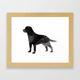 Labrador Retriever Black Fluid Abstract Art - Lab Image Framed Art Print