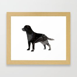 Labrador Retriever Black Fluid Abstract Art - Lab Image Framed Art Print