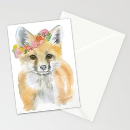 Fox Floral Watercolor Painting Stationery Cards