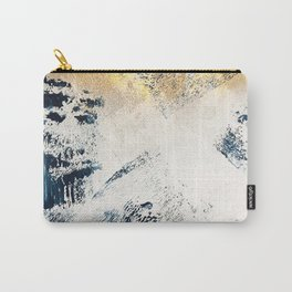 Sunset [1]: a bright, colorful abstract piece in blue, gold, and white by Alyssa Hamilton Art Tasche