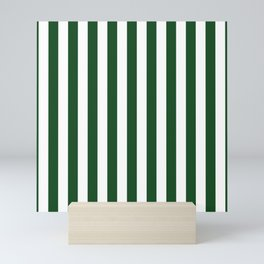 Large Forest Green and White Rustic Vertical Beach Stripes Mini Art Print