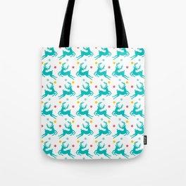 Blue Reindeer Christmas Pattern Tote Bag