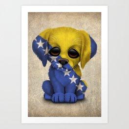 Cute Puppy Dog with flag of Bosnia - Herzegovina Art Print