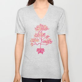 Bonsai Tree – Pink Palette Unisex V-Neck