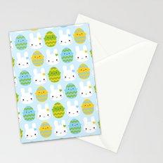Kawaii Easter Bunny & Eggs Stationery Cards