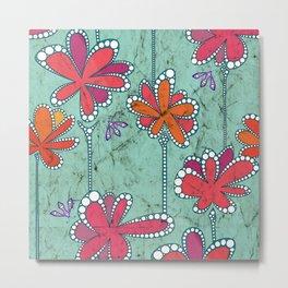 Batik Flower and bees Aqua Metal Print
