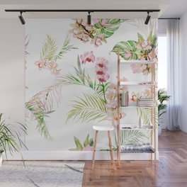 Pink Orchid, Hostas + Palms Pattern Wall Mural