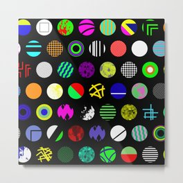 Eclectic Circles - Abstract collage of random, colourful, bold, eclectic circles Metal Print
