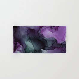 Abstract Ink Painting Deep Purple Green Hand & Bath Towel
