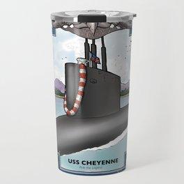 USS Cheyenne - Pearl Harbor Submarine Service (Silver Dolphins) Travel Mug
