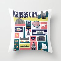 kansas Throw Pillows featuring Kansas City by cwassmer