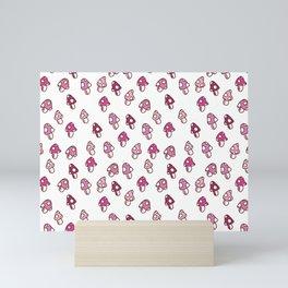 Pink Fairy Toadstools Pattern - seamless pattern Mini Art Print
