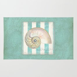 Nautilus Shell Striped Shabby Beach Cottage Watercolor Illustration Rug