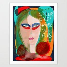 Pop Girl Albert Camus Words Art Print