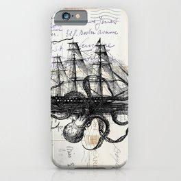 Octopus Kraken Attacking Ship on Old Postcards iPhone Case