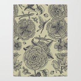 Garden Bliss - vintage floral illustrations  Poster