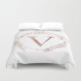 Letter V Rose Gold Pink Initial Monogram Duvet Cover