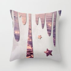 Glittery Purple Ocean Dripping on Grunge White Wall Throw Pillow