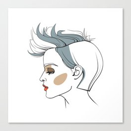Woman with trendy haircut. Abstract face. Fashion illustration Canvas Print