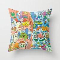 monster inc Throw Pillows featuring Chez Monster by Clayton (CTON) Hanmer