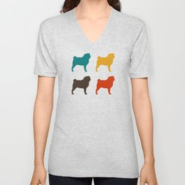 Pugs Pattern | Colorful Dog Silhouettes | Retro Colors Patterned Pugs Unisex V-Neck