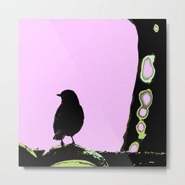 Spring mood - singing bird - black bird on a pink background Metal Print