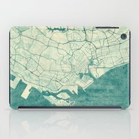 singapore iPad Cases featuring Singapore Map Blue Vintage by City Art Posters