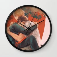 durarara Wall Clocks featuring Raira Days by washuuchan
