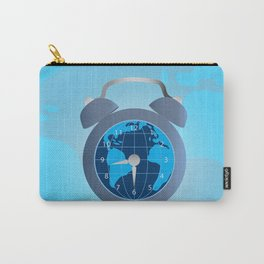Earth and alarm clock on map background Carry-All Pouch