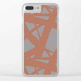 Cavern Clay SW 7701 Abstract Mosaic Pattern 3 on Slate Violet Gray SW9155 Clear iPhone Case