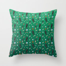 Black Greyhounds Playground Pattern - Shoes and Toys - Green Theme Throw Pillow
