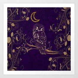 Golden Owl Crescent Moon Art Print