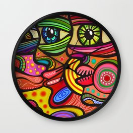 Abstract Folk Art People Painting Wall Clock