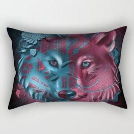 wolf art decor black Rectangular Pillow