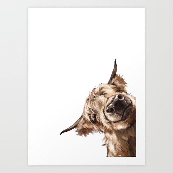 Sneaky Highland Cow Kunstdrucke