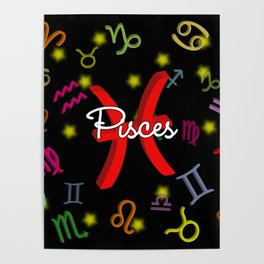 Pisces Floating Zodiac Poster