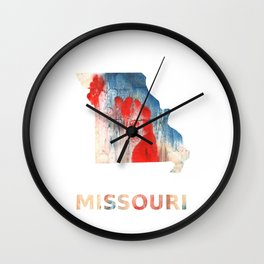 Missouri map outline Red Blue nebulous watercolor Wall Clock