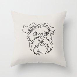 One line Schnauzer Throw Pillow