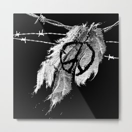 Ripped Peace -Peace sign-Barbed wire-War Metal Print