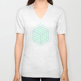 Sacred Geometry - glowing energy lines - cube and flowers Unisex V-Neck