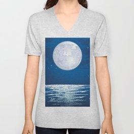 Moonlit path on the sea Unisex V-Neck
