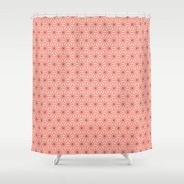 Red Japanese Hemp Kimono Pattern Shower Curtain