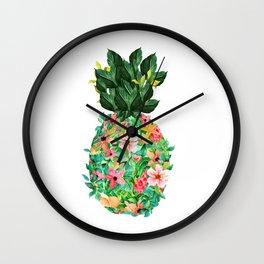 Colorful island flowers pineapple illustration Wall Clock