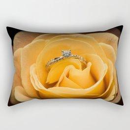 Yellow rose with diamond ring Rectangular Pillow