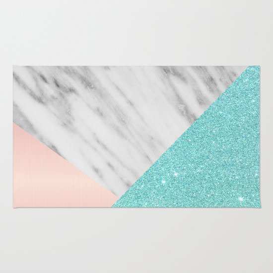 Real Italian Marble With Pink And Blue Rug By Cafelab