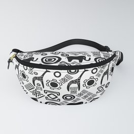 Ethnic African Pattern- Black and White #5 Fanny Pack